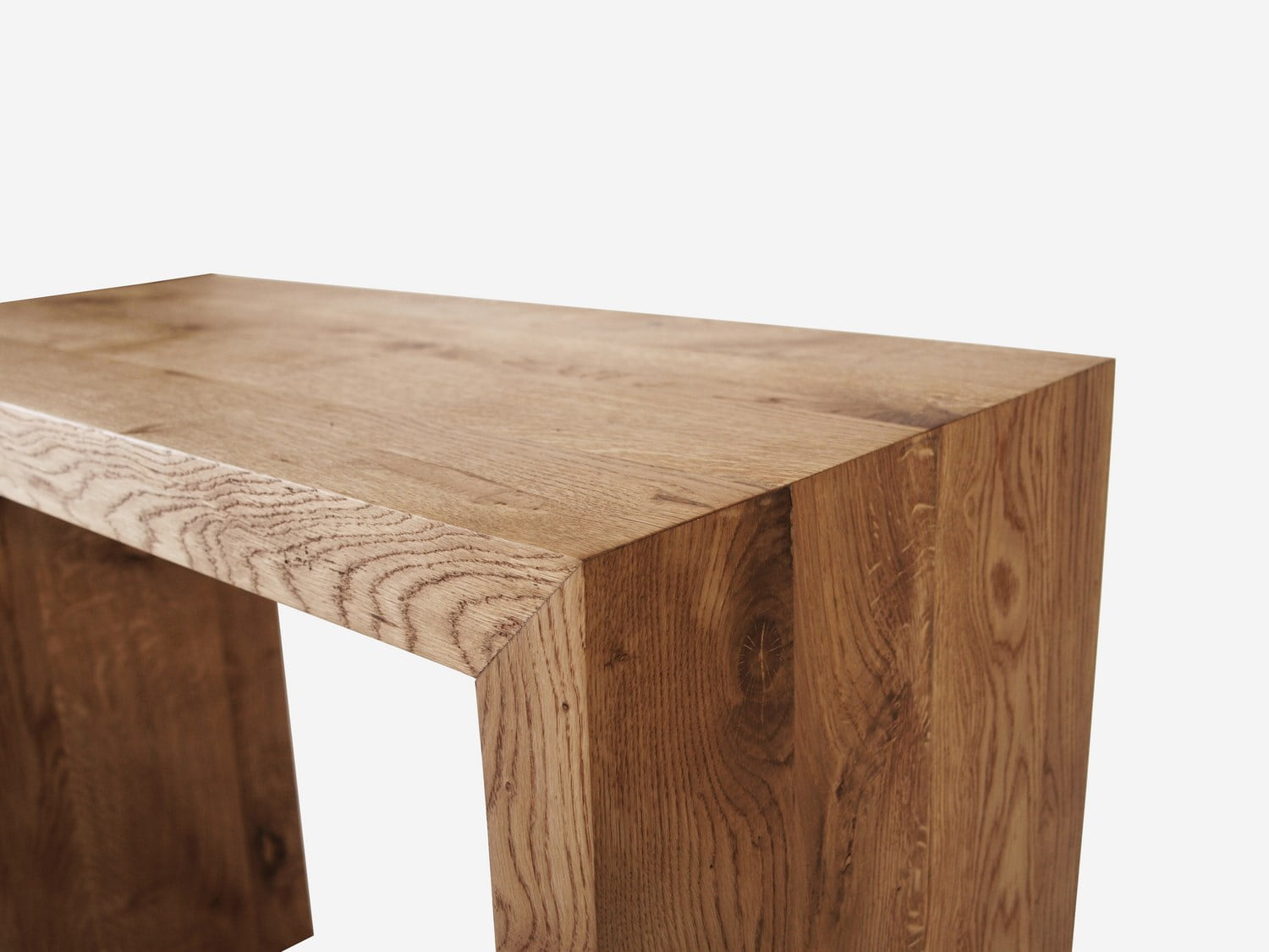Oak simple console made of natural solid wood in a minimalist Scandinavian style.