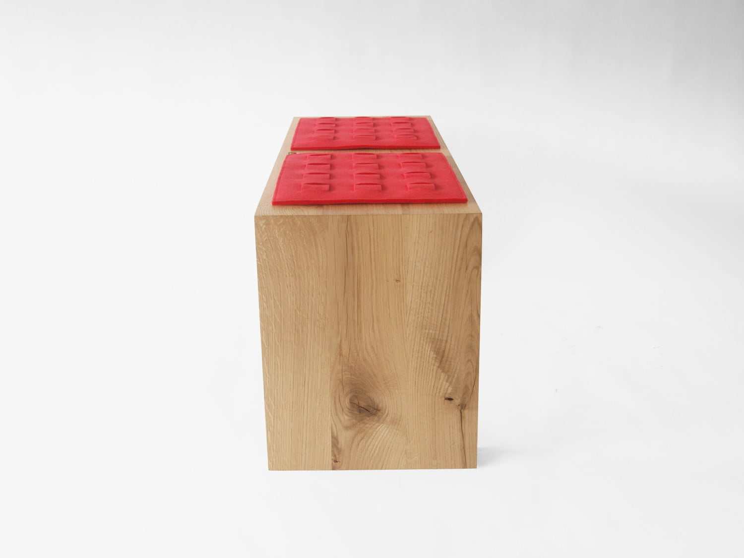 oak wooden simple minimalist bench with red felt pads