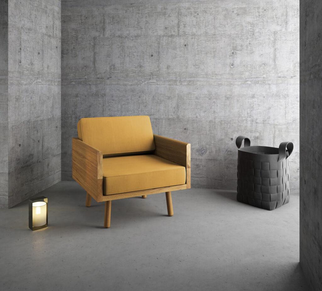 prosty dębowy żółty fotel w minimalistycznym stylu