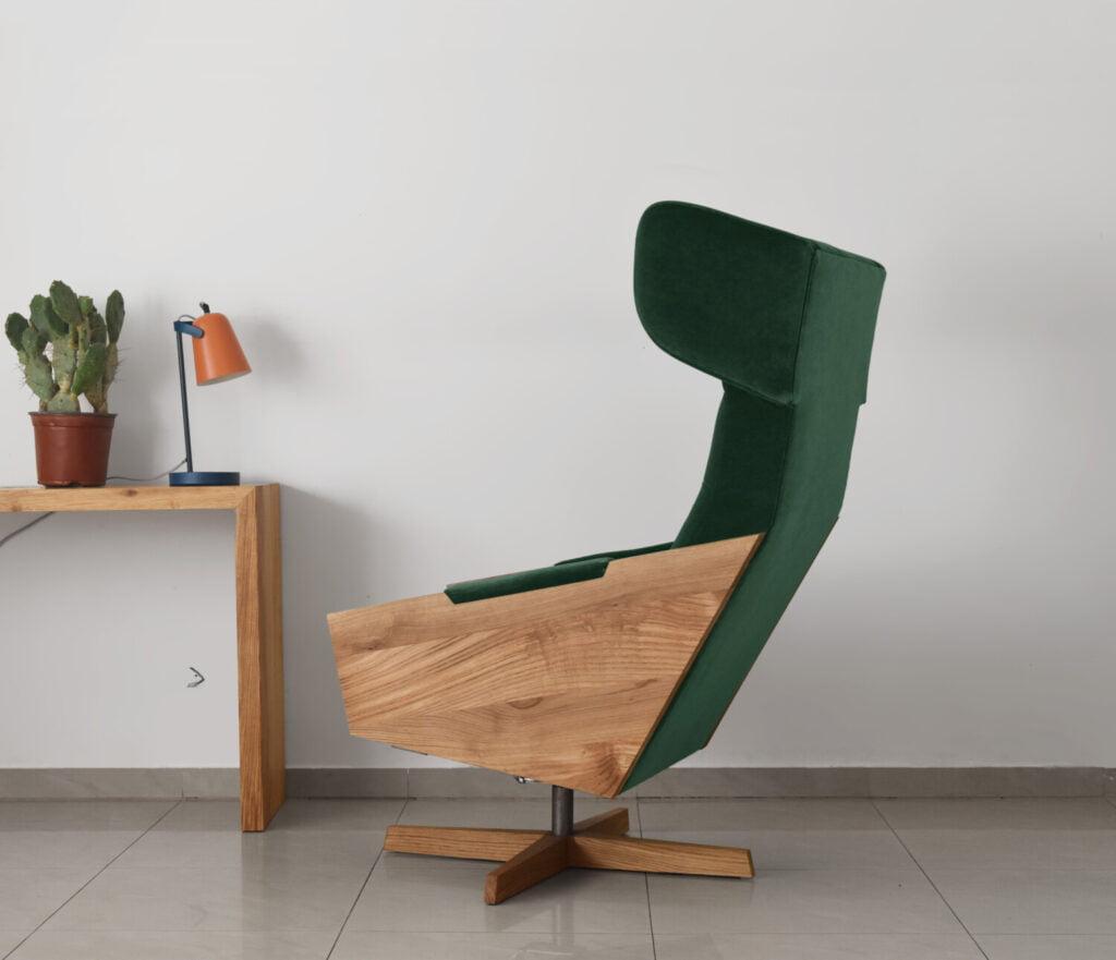nowoczesny fotel uszak, fotel w skandynawskim stylu, wypoczynkowy fotel do salonu