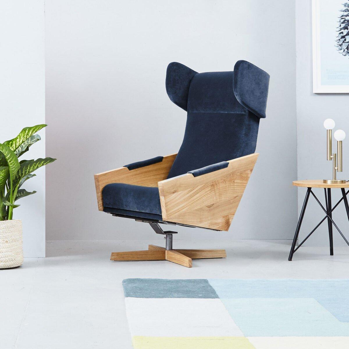 wygodny obrotowy fotel do salonu, fotel wypoczynkowy, designerski fotel