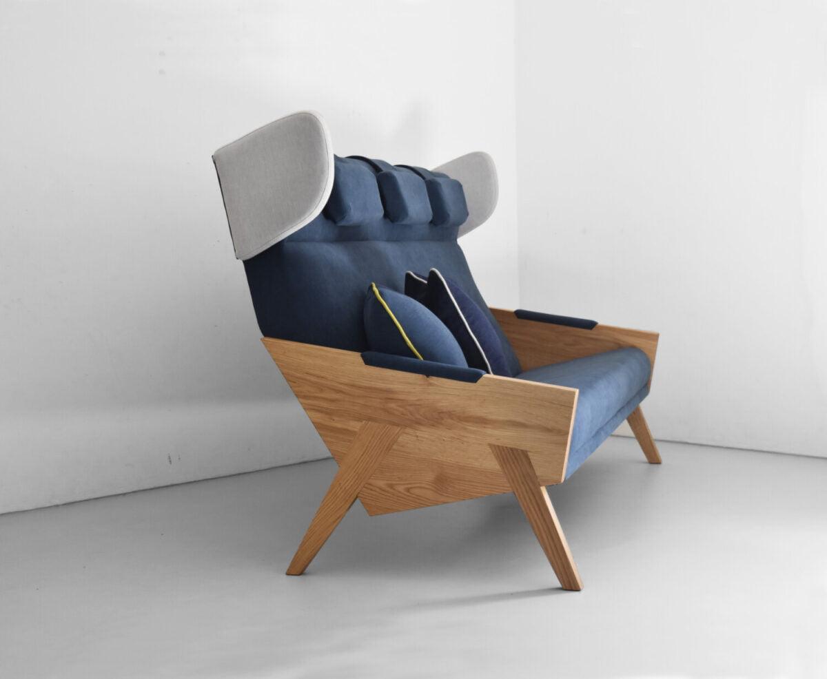 drewniana sofa trzyosobowa LIU w skandynawskim stylu, oryginalną sofa do salonu